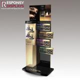 Seul stand cosmétique en bois d'étage de modèle et d'exposition de renivellement acrylique avec l'affiche et le logo