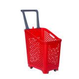 Armazenar cestas de compra plásticas usadas do trole da tração da mão da cesta