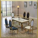 商業ホテルの販売のためのイベントの宴会の結婚式の椅子を食事する現代金のステンレス鋼の楕円形の円形の最高背部スタック