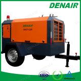 Compresor de aire rotatorio diesel portable del tornillo de la etapa doble de alta presión usado para la construcción