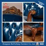 Sofà di legno e di cuoio dell'alta spugna di rimbalzo di colore blu di Rui Fu Xiang con il certificato dello SGS (N284)