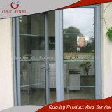 Portello di alluminio di vetro dell'entrata della stoffa per tendine di profilo grigio poco costoso del metallo