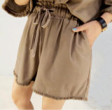 여자 바지를 가진 우연한 순수한 색깔 간결 소매 t-셔츠 한 벌