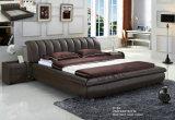 Белая самомоднейшая кровать неподдельной кожи с пряжкой (988)