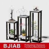 Accueil personnalisé de mobilier moderne en bois de teck doré étagère de fleur en aluminium
