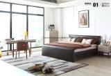 Einfacher doppeltes Bett-Entwurfs-modernes Schlafzimmer-Möbel-Leder-Bett