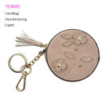 Розовый-0139 Lcq ключ автомобиля случае цепь ключ крышки для мелких предметов Keyring Wallet молнией Lady Bag - круглой формы с цветочным оформлением