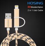 2 в 1 Braided кабеле данным по заряжателя USB нейлона для Android и iPhone