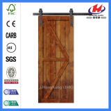 Porte de grange coulissante intérieure en bois solide de décoration de pin (JHK-SK09)