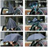자동차 열려있는 C 모양 손잡이 겹켜 리버스 우산