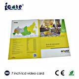 Meilleures ventes Hardcover Brochure-Buiness vidéo LCD 7 pouces Card-Video Carte de souhaits