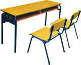 Sf-07D Design simples de madeira populares Escola Duplo mesa e cadeira