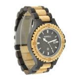 Het hete Verkopende Horloge van Woood van de Vrouwen van de Mannen van het Kwarts van de Manier van het Embleem van de Douane Unisex-