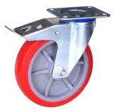 China-Fußrollen-Hersteller örtlich festgelegte PU-Rad-Hochleistungsfußrolle