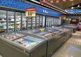 Parte superior da tampa de vidro e iluminação LED Supermercado freezer comercial de exibição