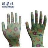 Handschoenen van de Tuin van de Druk van de bloem de Polyester Gebreide met de Vlotte Deklaag van het Nitril