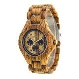 Bewell Logo personnalisé chaud nature artisanale de vente hommes montres quartz bois Zebra