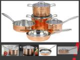 POT moderno Cile del rame degli articoli 9 di PCS insiemi del Cookware delle vaschette & dei POT tre volte