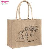 Sac shopping personnalisé du chanvre naturel sac de plage en Toile de Jute Jute Jute sacs fourre-tout avec des poignées