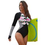 Les femmes Rashguard rayé Floral Patchwork maillot de bain en une seule pièce