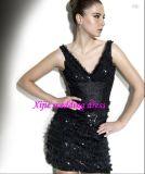 2011 vestito da partito sexy del bicchierino del V-Collo/abito del cocktail (CC-7421)