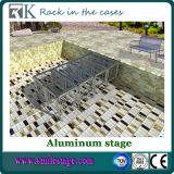 Портативный алюминиевый этап с черной палубой ковра для случая (RK-ASP1X1P)