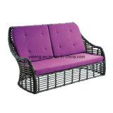 Sofà di vimini della mobilia della fabbrica di Foshan del PE di alluminio esterno Handmade del blocco per grafici doppio