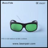 Gafas de seguridad de laser de los anteojos de la protección del laser de la transmitencia del 35% para los lasers rojos y lasers del diodo 808nm y 980nm (RTD-3 630-660nm &800-1100nm) con el marco 33