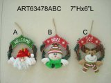 Santa Snowman Moose Christmas Decoration Wreath-3astst