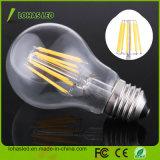 Alta potencia de 2W-8W LED de la caja de cristal de la luz de lámpara de filamento