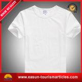 Hommes larges de collet de T-shirt blanc de coton