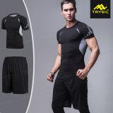 Magliette elastiche strette del Breve-Manicotto di sport & di forma fisica, pantaloni per gli uomini