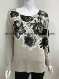 軽いゴム製プリントを持つ女性のための柔らかく簡単で長い袖のTシャツ
