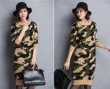 Koreanische O-Stutzen Tarnung-Strickjacke Hoodies strickendes Kleid