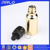 Botella de cristal de oro del cuentagotas del petróleo esencial con el casquillo de capa ULTRAVIOLETA de Chilfproof