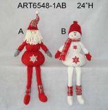 "24 ""H Floppy et Dangle Legged Santa and Snowman Christmas Decoration-2astst"
