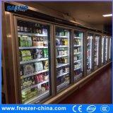 -18 à -22 degrés à la verticale porte en verre Multideck congélateur pour les aliments surgelés
