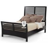 [سليد ووود] متأخّر خشبيّة سرير تصميم في إنجاز أسود