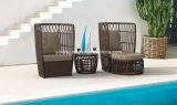 새로운 디자인 옥외 정원 가구 Ottoman&Coffee 테이블을%s 가진 큰 둥근 등나무 의자
