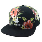 Tampão liso do Snapback da borda do poliéster floral dos painéis do costume 6 com logotipo do bordado