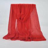 Écharpe teinte ordinaire en gros de mode de polyester avec la poudre Shinning (HWBPS34)