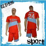 ロゴおよびパターンサッカーのジャージーのフットボールの均一ワイシャツおよび不足分をカスタム設計しなさい