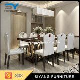 8脚の椅子が付いている宴会の家具のローズの金のダイニングテーブル