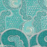 Tessuto svizzero del merletto del voile del ricamo verde del cotone dell'acqua