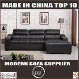 Base Storable do sofá da mobília preta do couro genuíno (LZ710)