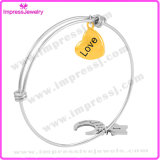 Braccialetti di Femme del braccialetto dell'acciaio inossidabile con i fascini di doratura elettrolitica