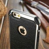 Galvaniseer Dekking van het Geval van het Leer van de Textuur Pu van het Metaal de Achter voor iPhone 6