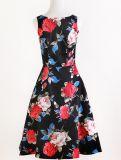 Großhandelspartei-Baumwolle und blaues Blumenleinenkleid