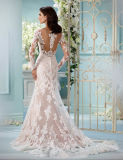 Luvas longas nupciais do vestido de casamento do laço que Wedding os vestidos de esfera Ld1167