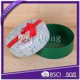 Diseño personalizado Caja de papel de regalo de Navidad de forma redonda con cinta
